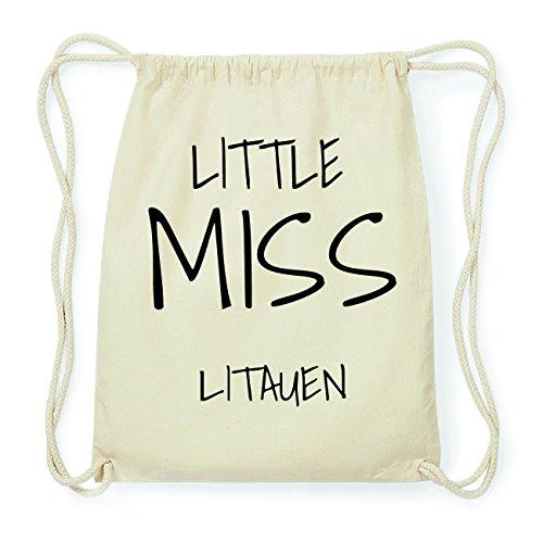 JOllify LITAUEN Hipster Turnbeutel Tasche Rucksack aus Baumwolle - Farbe: natur Design: Little Miss