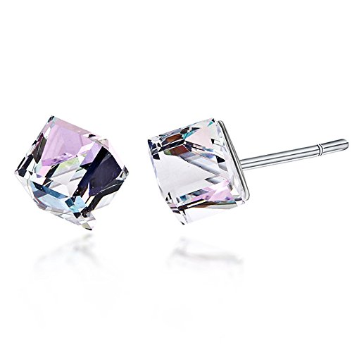 Stud Earrings Swarovski Crystal Elements Virtrail Light Diagonal Cube Handmade Sparkling Diamond Gifts for Women (Virtrial Light) 6 Mm Cut Cubes