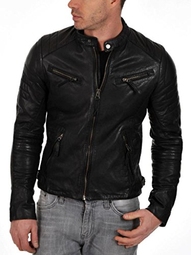 Junction Negro Chaqueta Leather Para Hombre gUqWFd