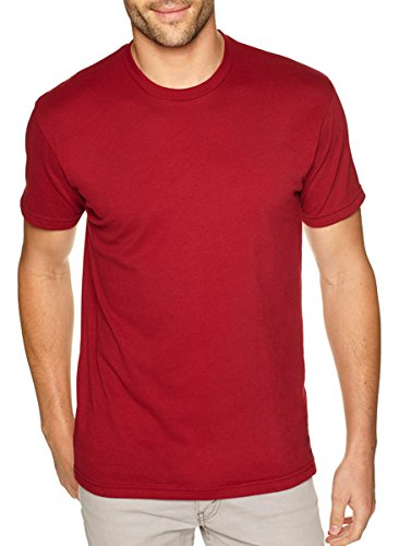 Next Level Apparel Men's Premium Fitted Sueded Crewneck T-Shirt, Cardinal, Large - Mens Crewneck Shirt