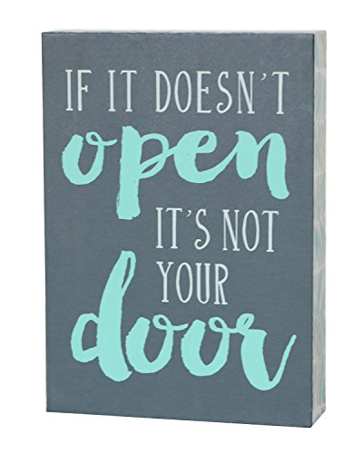 SANY DAYO HOME 7 x 5 inches Wooden Box Sign with Inspirational Saying for Office and Home Decor - If It Doesnt Open Its Not Your Door