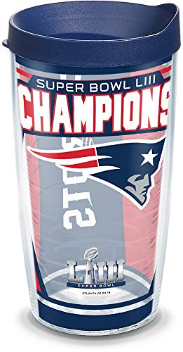Tervis 1324939 NFL New England Patriots Super Bowl 53 Champions Insulated Tumbler with Wrap and Lid 16 oz Clear -