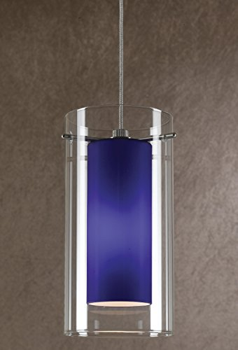 1052 Glasses - Cal Lighting UP-1052/6-BS Pendant with Clear and Blue Glass Shades, Brushed Steel Finish