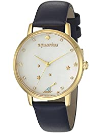 Womens Metro Quartz Stainless Steel and Leather Casual Watch, Color:Blue (