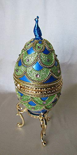 Enameled Hand Painted Faberge Egg Style Decorative Hinged Jewelry Trinket Box Unique Gift Home Decor, Authentic Goose Egg, Music Box, Pretty as Peacock Kingspoint Design -