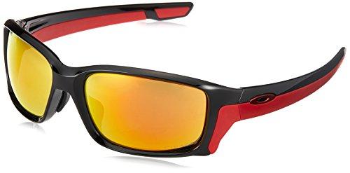 Oakley Men's OO9336 Straightlink Asian Fit Rectangular Sunglasses, Polished Black/Prizm Ruby, 61 ()