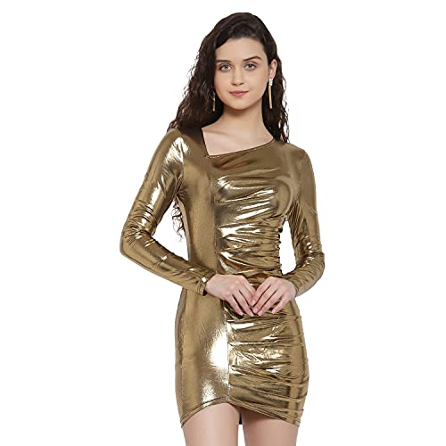 ikichic Women Stylish Western Long Sleeve Bodycon Mini Dress for Girls