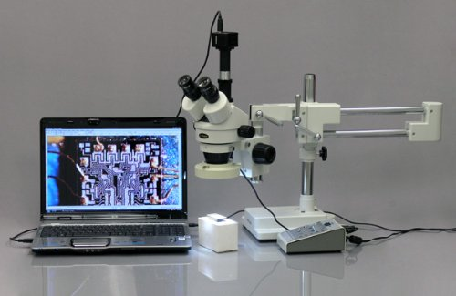 AmScope SM-4TZ-80AM-5M Digital Professional Trinocular Stereo Zoom Microscope, WH10x Eyepieces, 3.5X-90X Magnification, 0.7X-4.5X Zoom Objective, Eight-Zone LED Ring Light, Double-Arm Boom Stand, 110V-240V, Includes 0.5X and 2.0X Barlow Lenses and 5MP Camera with Reduction Lens and Software