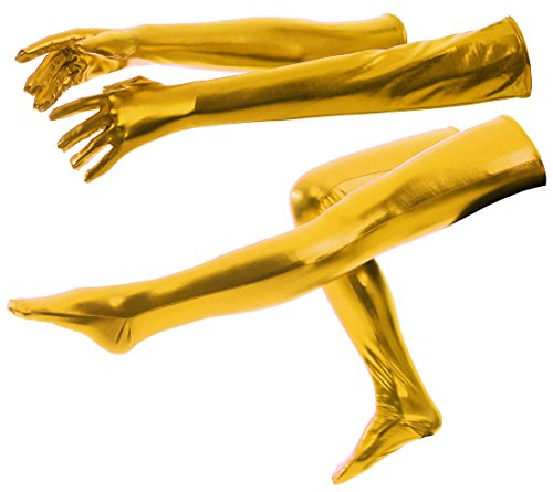 ATHX Women's Gold Shiny Metallic Wet Look Tight