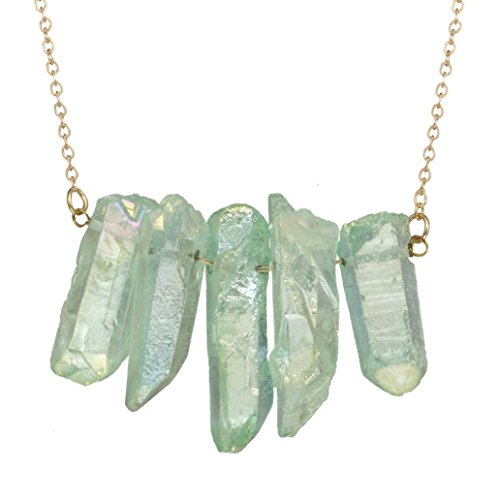 Set Gemstone Choker (Funny Gifts,Hongxin Lucky Dragon Punk Rock Male Women Waxed Cord Necklace Turquoises Rose Clear Quartz Gems Stone Bullet Pendants Necklaces (B))