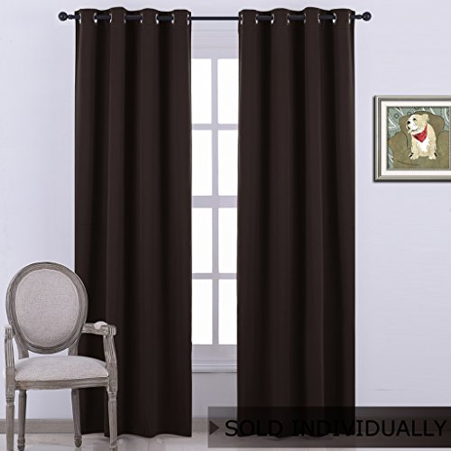 NICETOWN Blackout Room Darkening Curtain Panel - (Toffee Brown Color) Window Treatment Panel for Home Theater, Noise Rducing Drape/Drapery, 52 Inch Wide by 84 Inch Long, One (Finishing Door Stop)