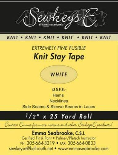"By the 25 yard Roll M494.17 White 1//2/"" Fusible SS1 Extra Fine Knit Stay Tape"