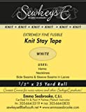 """White - 1/2"""" Fusible Knit Stay Tape - 0.5"""" X 25 Yards SewkeysE Extremely Fine Knit Interfacing Sold by The 25 Yard Roll…"""