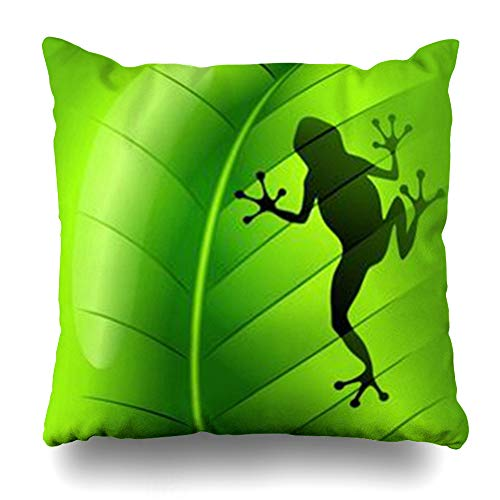 DaniulloRU Throw Pillow Covers Tree Frog Shape On Green Leaf Season Abstract Tropical Vegetation Amphibian Aquatic Graphics Home Decor Sofa Cushion Cases Square Size 16 x 16 Inches Pillowcase ()