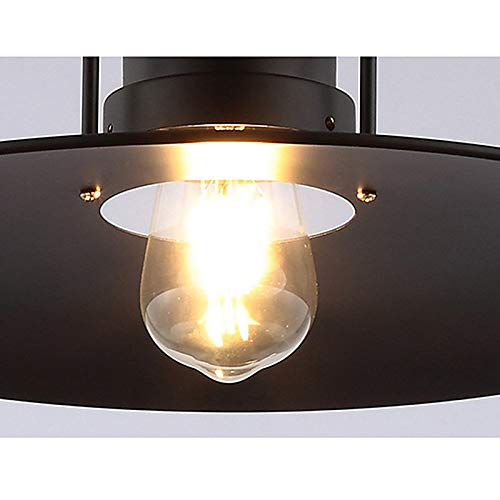Ladiqi Industrial Hanging Pendant Light Black Vintage Hanging Lighting Fixture with Creative Saucer Shade for Restaurant Cafeteria Buffet by Ladiqi (Image #7)