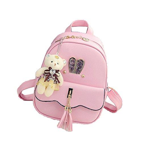QXMEI Sac à Dos College Vent Cartable Sac à Dos Lapin Oreilles Simples Frange Sac à Dos Sacs Pink