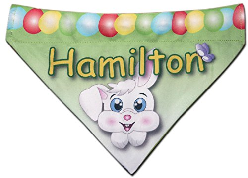 Easter Keepsake - NEW Over Collar Slide On Dog Cat Pet Personalized Easter Bunny Bandana Bandanna (Medium)