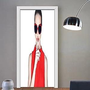 Summer Price custom made 3d Door Wall Mural Wallpaper stylish woman wearing dark sunglasses For Room Decor 30x79