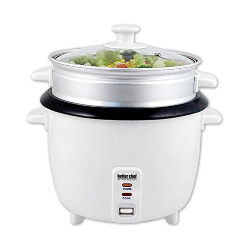 Better Chef IM-411ST Rice Cooker White W/Food Steamer Attach