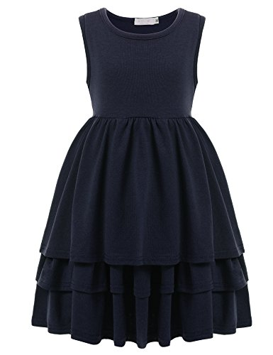Cute Dress For Tweens (Arshiner Kids Girls Sleeveless Ruff Multi Tier Pleated Solid Casual Cute Dress, Blue, 140(Age for 10-11Y))