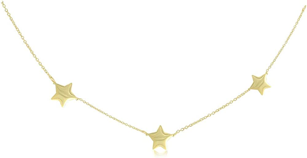 IPG Gold Plated Plain High Polished Stainless Steel Three Stars Collar Necklace Length16,17,18