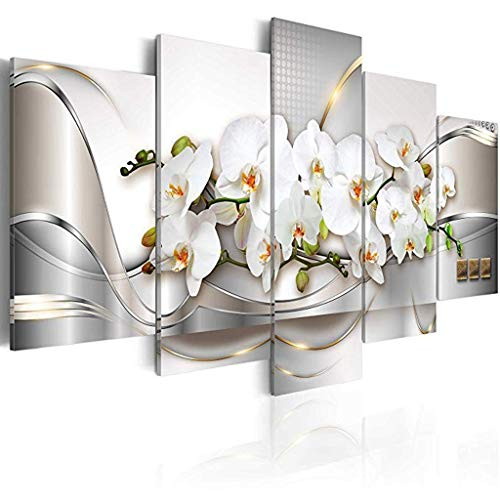 raillery Modern Canvas Print Art Wall Picture 5 Panels Flower White Orchid Floral Painting Contemporary Diamond White Decor Artwork Framed and Stretched (40