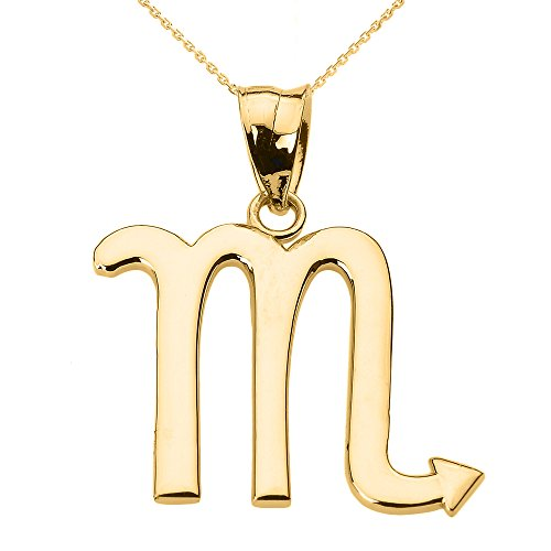 Personalized 14k Yellow Gold Scorpio Zodiac Sign Pendant Necklace, 16