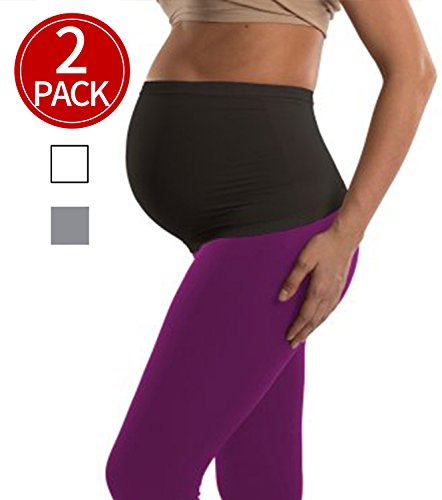 Womens Maternity Belly Band Seamless 2 Pack Everyday Support Bands for Pregnancy...