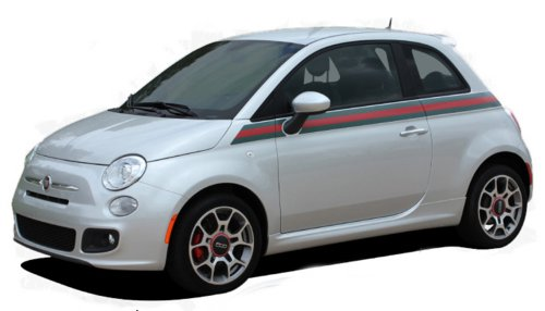 Stripes Flag Applique (ITALIAN APPLIQUE : 2011-2015 Fiat 500 Wide Upper Door Red Green Italian Flag Style Vinyl Graphic Decal Stripes (Fits ALL MODELS) (Color-3M 66 Dark Red))