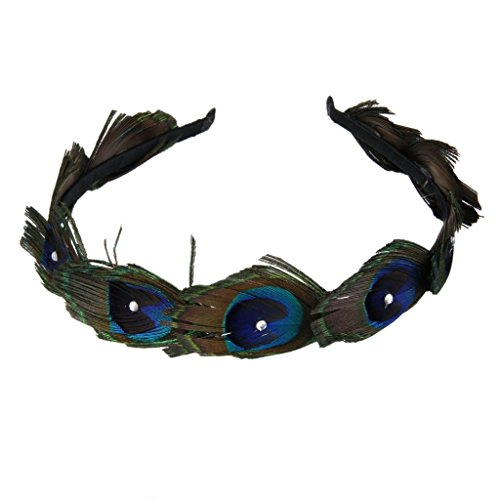 [MagiDeal Vintage 1920's Peacock Feather Flapper Headband Wedding Hairband Headpiece] (Flappers 1920)