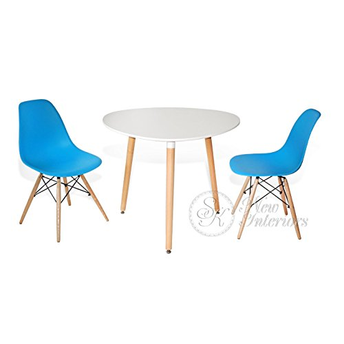 3-Piece Dining Set White Rounded Triangle Round Table Blue Chairs Modern Wood Legs