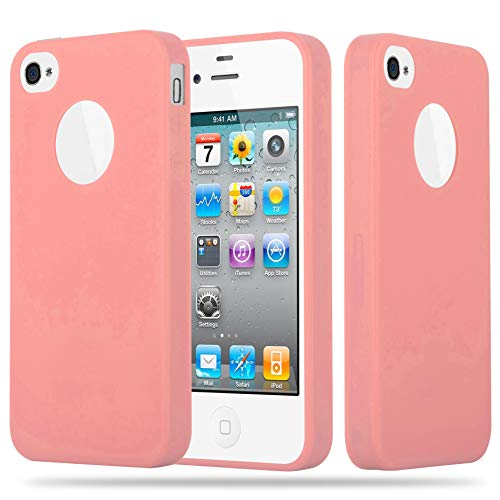 Cadorabo Case Works with Apple iPhone 4 / iPhone 4S in Candy Pink - Shockproof and Scratch Resistant TPU Silicone Cover - Ultra Slim Protective Gel Shell Bumper Back Skin