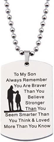 Ensianth Always Remember You Are Braver Than You Believe Hand Stamped Necklace Keychain for Family Friend