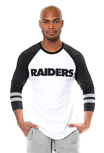 NFL Men's Oakland Raiders T-Shirt Raglan Baseball 3/4 Long Sleeve Tee Shirt, Medium, White (Raiders Official Team Jersey)