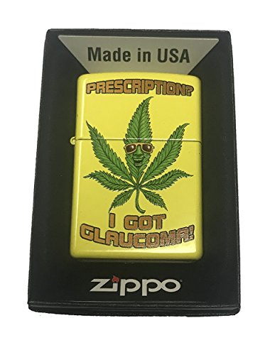 Zippo Custom Lighter - Weed Marijuana Cool Pot Leaf w/ Sunglasses