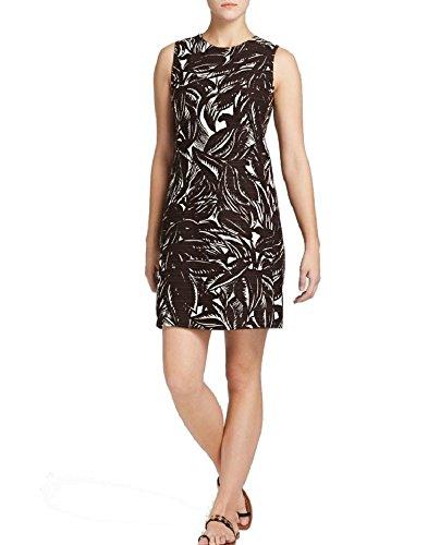Tory Burch Cotton/Linen Palms Shift Dress, Coconut Brown/Natural - Size 2