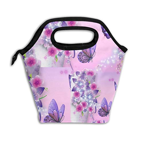 Unisex Lunch Tote Bag Cooler Bag Sakura Flowers With Purple Butterflies Easy To Clean For Liquor Storage For Beach Outdoor Recreation With Aluminium?Coating And Printed -