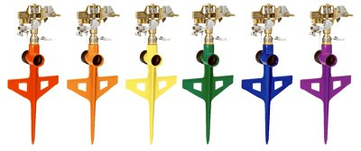 Dramm 10-15060 Stake Impulse Sprinkler, Assorted Colors - Quantity 6