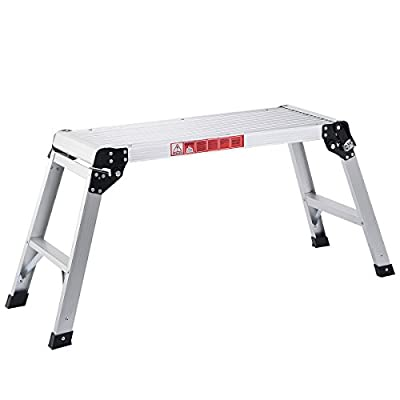 Giantex Hd En131 Aluminum Platform Drywall Step up Folding Work Bench Stool Ladder by Giantex