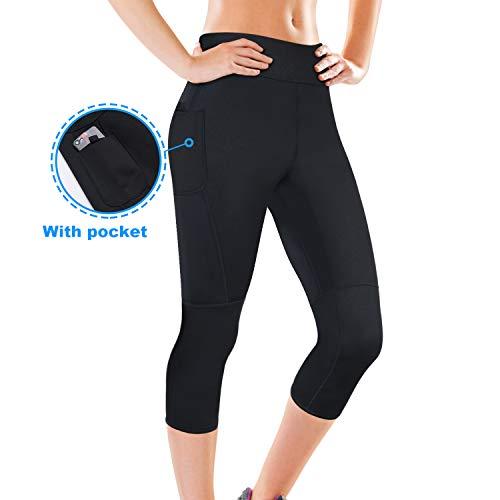 Junlan Women Neoprene Workout Pants Body Shaper Sweat Sauna Suit for Weight Loss Exercise Leggings Hot Slimming Yoga Capris (Sauna Pants with Pocket, 2XL) ()