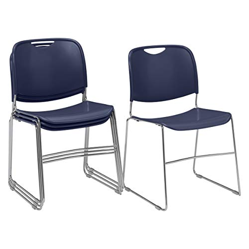 ((4 Pack) National Public Seating 8500 Series Ultra-Compact Plastic Stack Chair, Navy Blue)