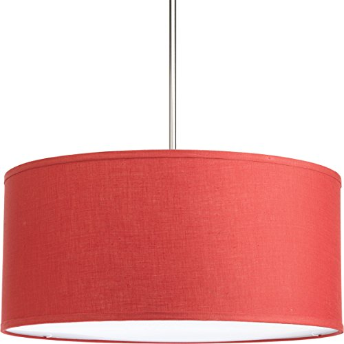 "Progress Lighting P8830-39 Transitional Drum Shade from Markor Collection in Bronze/Dark Finish, 22"", Crimson"
