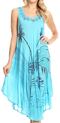 Summer Light stampa Sakkas con Caftan Valentina tropicale up Dress Cover Turq FqEH5