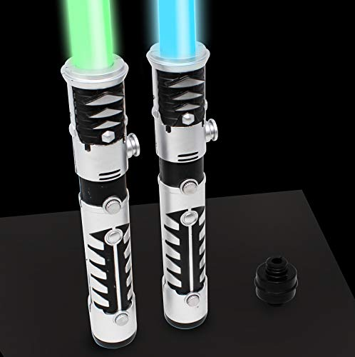 JOYIN Light Up Saber 2-in-1 LED FX Dual Laser Swords Set with Sound (Motion Sensitive) and Realistic Sliver Handle Stocking Idea, Xmas Presents, Galaxy War Fighters and Warriors by JOYIN (Image #3)
