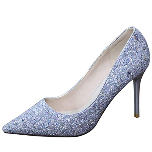 LBTSQ thin heels Sexy temperament Thirty high 9cm heels shoes pointed sequins shoes eight crystal 1w1qYrX