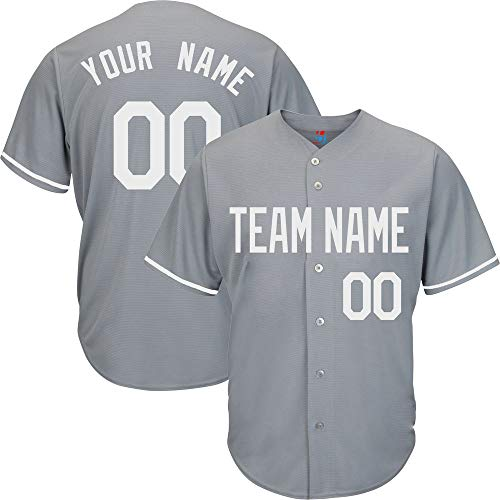 Gray Customized Baseball Jersey for Youth Button Down Stitched Team Player Name & Numbers,White Size M