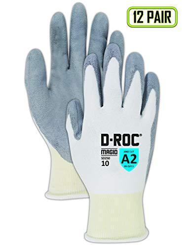 Magid D-ROC SD250 Polyethylene Glove, Polyurethane Palm Coating, Knit Wrist Cuff, 9