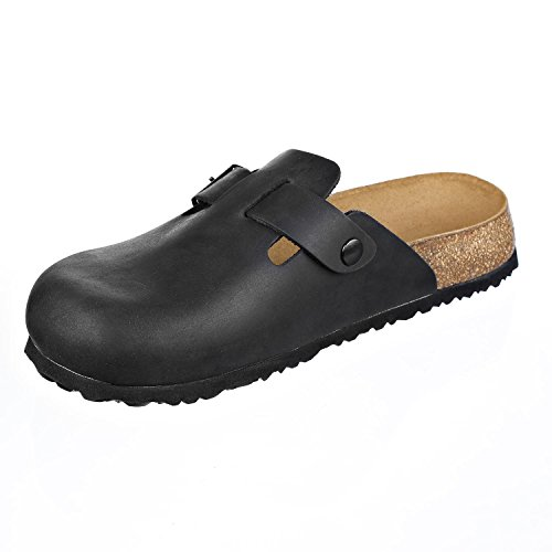 Leather Womens Slippers Softbedded Narrow Black N JOYCE and Mens Soft JOE Shoes Clogs Z7xntWF