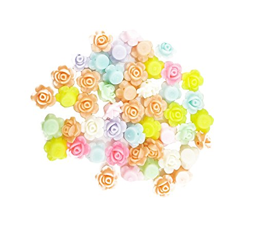 yueton?Pack of 50 Mixed Color Rose Flower Spacer Loose Beads DIY Craft Charms (Mixed - Flowers Charms Rose