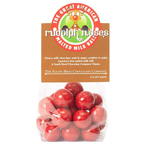 Rudolph Noses Cherry Chocolate 8 ounce Christmas Bagged Malted Milk Balls